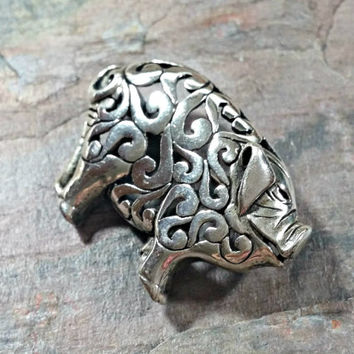 Sterling Silver Jezlaine Pig Brooch Adorable Oinker From her Snout to her Curly Tail Classic Swirl Shadow Box Cutout Pattern Pig Collector