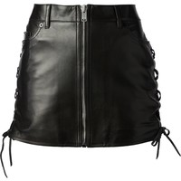 Saint Laurent Laced Leather Miniskirt