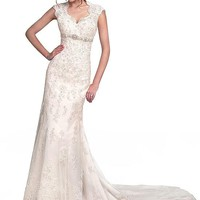 [239.99] Delicate Tulle V-neck Empire Waistline Sheath Wedding Dress With Lace Appliques & Beadings - dressilyme.com