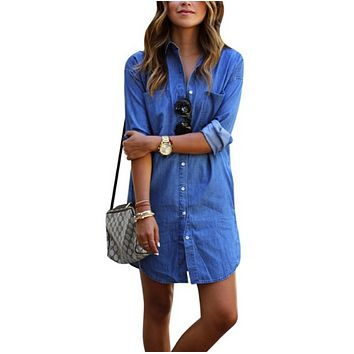 Women Long Sleeve Denim Dress