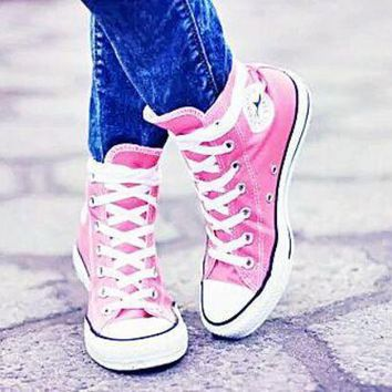 CREYUG7 Converse All Star Sneakers Adult Leisure High-Top Leisure shoes Pink