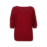 Burgundy Loose Bat Sleeve Knit Sweater