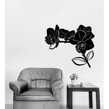 Large Wall Vinyl Decal Bud Leaves Branch Flowers Orchid Unique Gift (n1290)