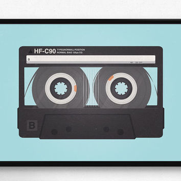 Cassette poster, Pop art, Vintage print, Blue print, For the home, Home decor, Minimalist, Wall art, Wall poster, Mixtape poster, Modern art