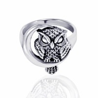 Chuvora 925 Sterling Silver Owl with Crescent Moon Women's Ring