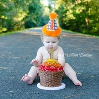 Orange and Brown Argyle First Birthday Cake Smash Outfit