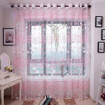 Flower Curtains Window Voile Fabric Sheer Tulle Treatment Drape Valance Printing Flora Little Teenager Girl Bedroom Decoration