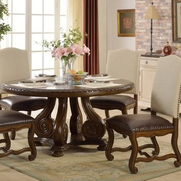 5 pc Monaco collection dark finish wood round dining table set with linen back chairs with nail head trim