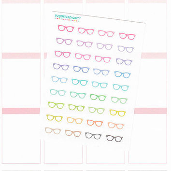 36 tiny, mini, glasses, spectacles, planner stickers, study, planner girl, book club, diary, calendar, planning day, tv, me time, GLS2