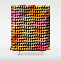 Houndstooth orange on black watercolor Shower Curtain by CAPow!