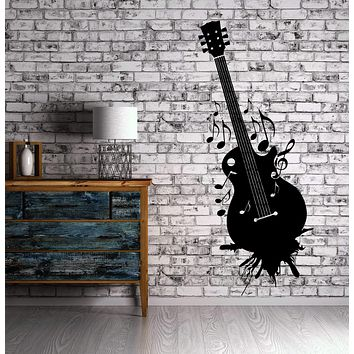Guitar Wall Stickers Music Musical Instrument Grunge Vinyl Decal Unique Gift (ig2405)