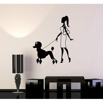 Wall Decal Pretty Woman Walking Dog Fashion Vinyl Stickers Unique Gift (ig2875)