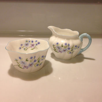 Shelley Blue Rock Dainty Shape Mini Cream and Open Sugar Set  Fine Bone China England 13591