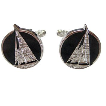 Black and Silver Toned Nautical Sail Boat Cufflinks