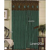 Western Embroidery Star Suede Curtain set  - Turquoise