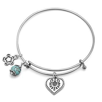 Expandable Silver Heart Charm Bangle Bracelet