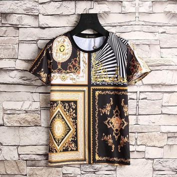Versace Women or Men Fashion Casual Pattern Print Shirt Top Tee-5