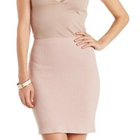 Blush Ribbed Bodycon Pencil Skirt by Charlotte Russe