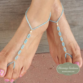Blue Barefoot Sandals, Bottomless Sandals, Beach Wedding Sandals, Barefoot Wedding Sandals, Something Blue, Boho Foot Jewelry, Dainty Anklet