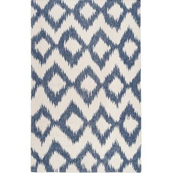 Navy Blue Diamond Ikat Rug