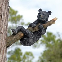 SheilaShrubs.com: Up a Tree Hanging Black Bear Cub Sculpture KY69868 by Design Toscano: Garden Sculptures & Statues