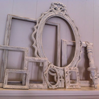 Shabby Chic Gallery Wall of Frames Wedding Decor Distressed Vintage Frames in Off White Upcycled Painted, Home Decor
