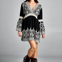 Boho Embroidered Bell Sleeve Dress - Black