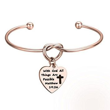 KUIYAI With God All Things Are Possible Knot Bangle First Communion Bracelet Gift