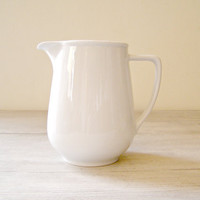 Vintage White Pitcher Vinatage Porcelain cream Jug by MeshuMaSH