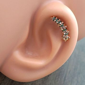 Champagne Crystal Ear Climber Rose Gold Daith Rook Cartilage Hoop