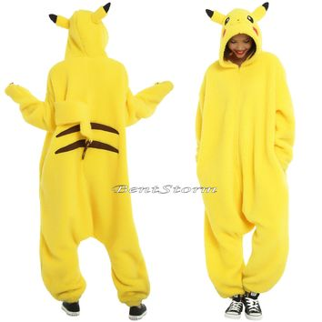 Licensed cool POKEMON GO Pikachu ADULT 1PC Costume PJS Kigurumi Style Union Suit Pajamas NEW