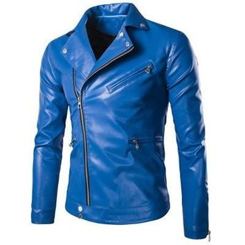 fashion stand collar motorcycle leather clothing men's Zipper leather jacket male outerwear blue Leather & Suede M-XXXL