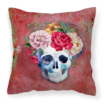 Day of the Dead Red Flowers Skull  Fabric Decorative Pillow BB5130PW1414