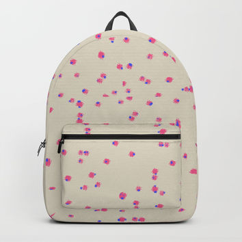Abstract Cute Flowers Fabric Design Pattern - Pink, Red and Beige Backpack by Estef Azevedo