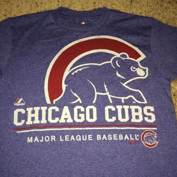 Sale!! Vintage Majestic CHICAGO CUBS Baseball T-shirt MLB jersey