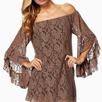 Brown Off-The-Shoulder Lace Mini Dress with Bell Sleeves