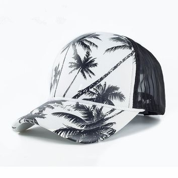 Summer Mesh Hat Cotton Baseball Cap Women Men Coconut Tree Print Sun Visor Caps Casual Trucker Dad Hat Adjustable Snapback Cap