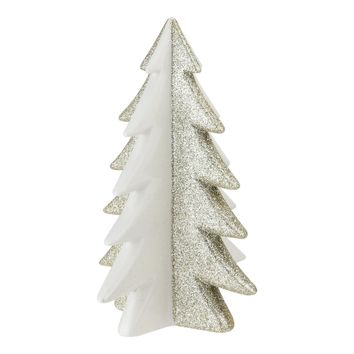 "6.5"" Shimmery Gold and Porcelain White Decorative Christmas Tree Figurine"