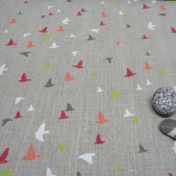 Natural linen tablecloth 56 x 120. Scandinavian desing linen fabric. Bird Swedish Tablecloth New Year's Day