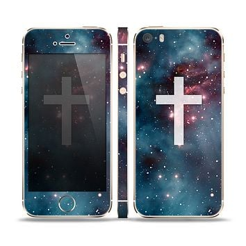 The Vector White Cross v2 over Bright Pink Nebula Space Skin Set for the Apple iPhone 5s