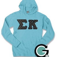 CUSTOM Comfort Colors Long Sleeve Hoodie with Greek (Sorority or Fraternity) Letters -- Perfect Gift, Great for Fall!