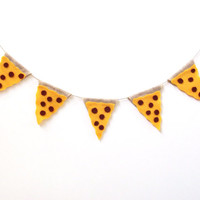 Pizza party banner, felt banner, 90s banner, cheesy pepperoni pizza