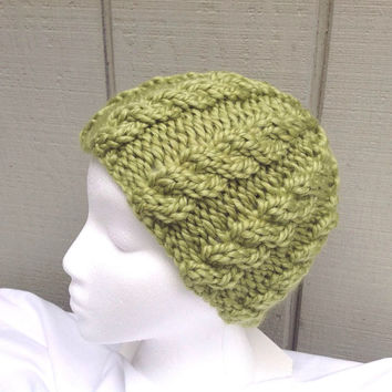 Womens beanie - Chunky knit beanie  - Green cabled hat - Teens wool hat