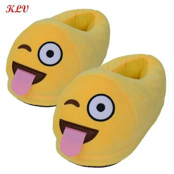 New Hot Funny Mens Plush Slippers Home Shoes House Cute Women Slippers Emoji Warm Ho