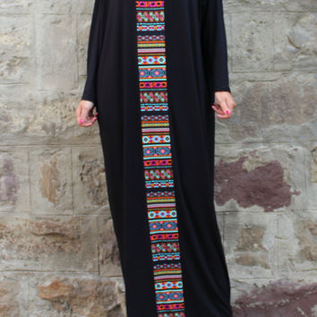 Black Caftan Maxi Dress Plus Size Dress Kaftan Abaya Oversized Dress Aztec 470