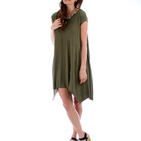 Lost Reverie Oversized T-Shirt Dress: Olive Green