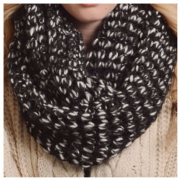 Black/White Peppered Knit Large Thick Infinity Scarf