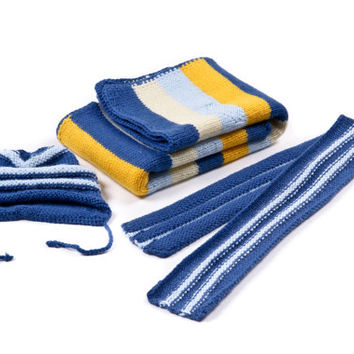 blue blanket, hat and scarf - Knit baby set - blanket & hat kniting baby set