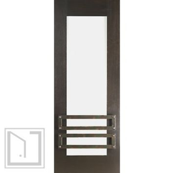 "2-1/4"" Thick Contemporary Mahogany Door Iron Work Low-E Glass"