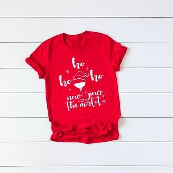Hipster Short Sleeve Slogan Tee Casual Funny Graphic Tops Red Clothes Now Pour The Merlot Christmas Stylish Tops Gift goth Shirt